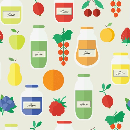 Jars of jam and juice, berries and fruits. Cartoon seamless pattern. Vector illustration in flat design Vector