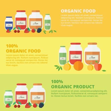 Jars of jam and juice horizontal banners set. Flat design vector illustration. Concept organic food Vector