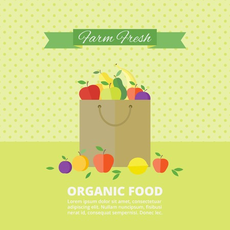 Banner with fresh fruits and berries in package. Vector illustration in flat style. Organic food