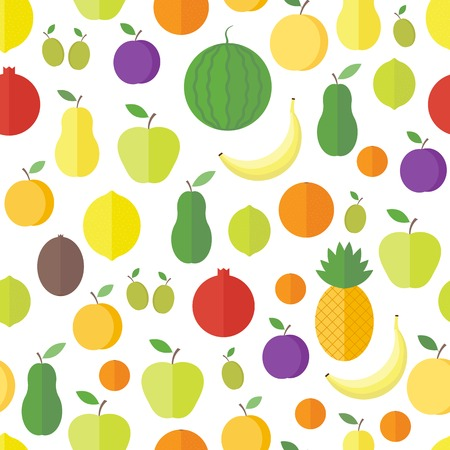 Seamless pattern with fresh fruits and berries on a white background. Vector background