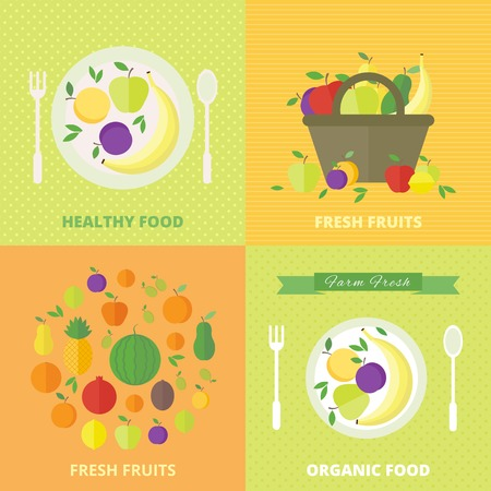 Banners with fresh fruits and berries. Vector illustration in flat style. Concept healthy food