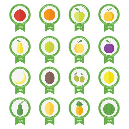 Stickers with fresh fruits and berries. Set of vector banners in flat style