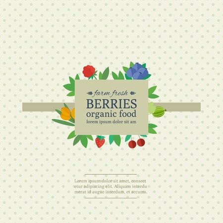 Banner with different fresh berries on a fabric background with polka dot. Concept organic food. Vector illustration