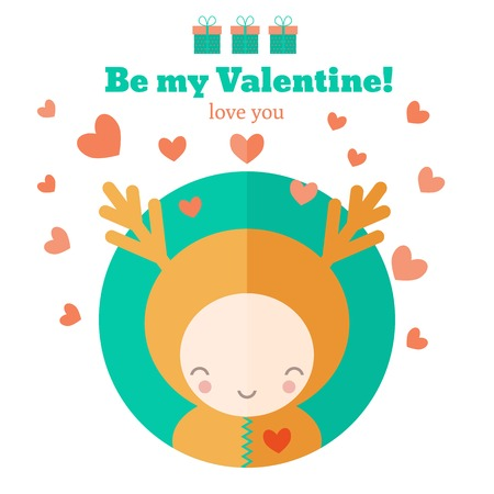 Cute card with funny fairytale character. Vector invitation for Valentines day Illustration