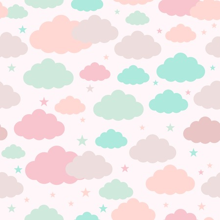 Childish seamless pattern with clouds and stars. Vector background for design