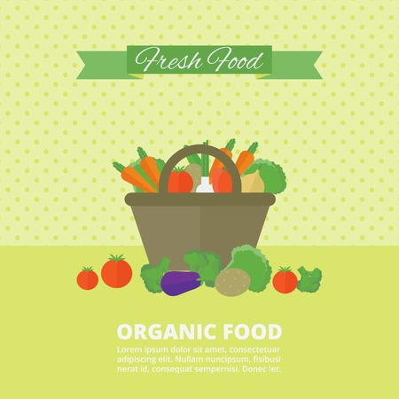 Banner with fresh vegetables and fruits in basket. Vector illustration in flat style. Organic food