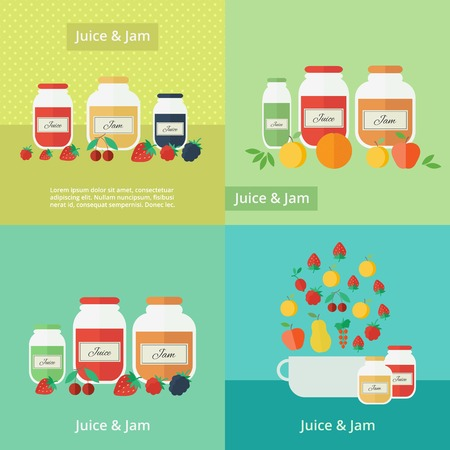 Jars of jam and juice with fruits and berries cards. Flat vector illustrations Vector