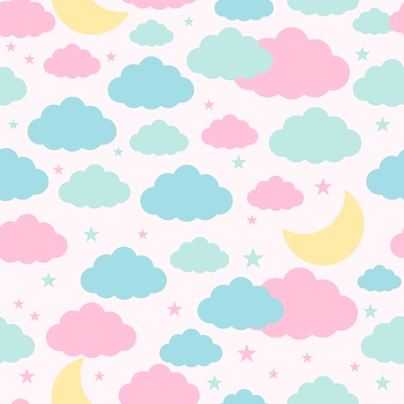 night moon: Childish seamless pattern with moon, clouds, stars. Vector background for design Illustration