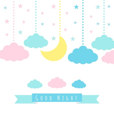 sleep: Moon, clouds, stars and banner for text.  Illustration
