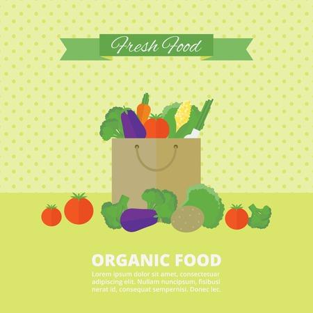 cocina caricatura: Banner con verduras frescas y frutas en el paquete.