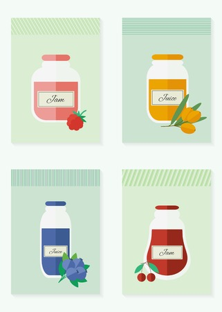 Jars of jam and juice cards. Flat design vector illustration Vector