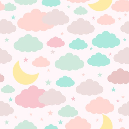 Childish seamless background with moon clouds and stars