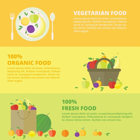 Horizontal banners with fresh fruits and berries. Vector illustration in flat style. Concept healthy food Vector