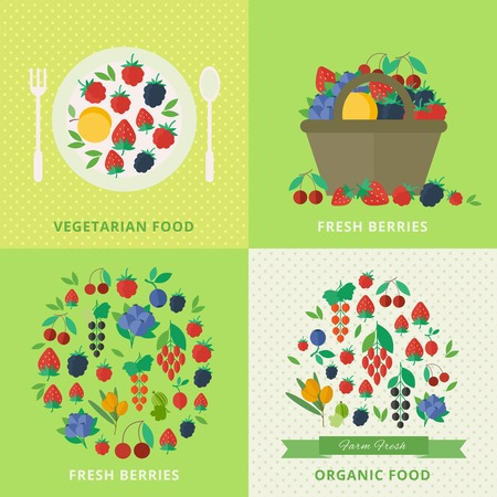 illustration Banners with different fresh berries and fruits. Vector