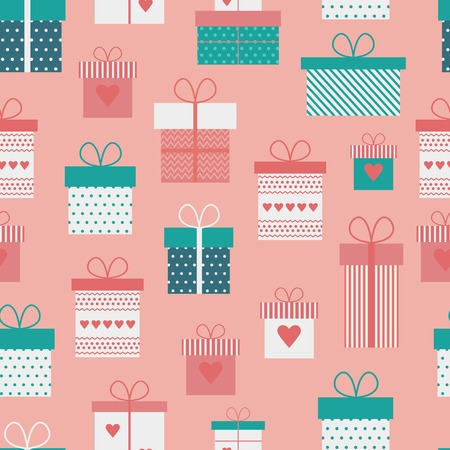 Seamless pattern with gift boxes, presents in flat style for Valentines day