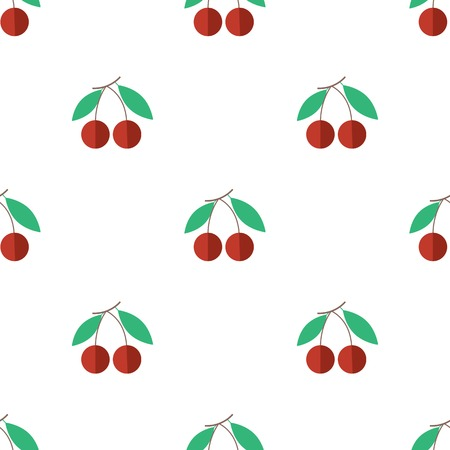 Seamless background with cherries on a white background. Vector illustration Vector