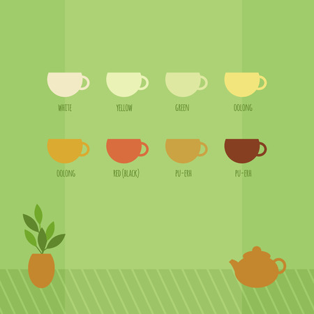 oolong: Card with teapot and cups of tea in Chinese style on the green background. Vector illustration