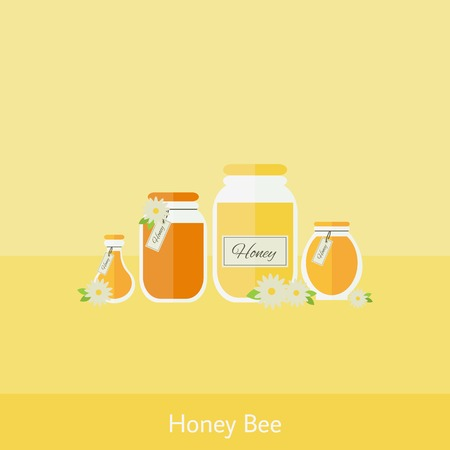 yellow background: Card with jars of honey in flat. Vector illustration