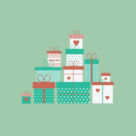 Caard with presents, gift boxes in flat style. Vector illustration