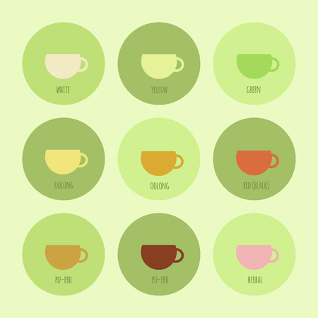 oolong: Set of icons with cups of chinese and herbal tea. Vector isolated elements