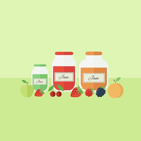 fruit jam: Card with jars of fruit jam on a table. Flat design vector illustration