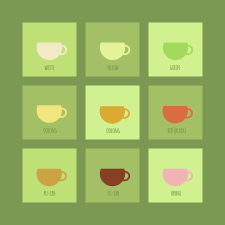 Set of icons with cups of chinese and herbal tea. Vector isolated elements Vector