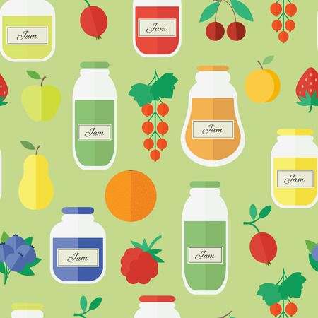 Seamless pattern with jars of jam and fruits. Flat design vector illustration Vector