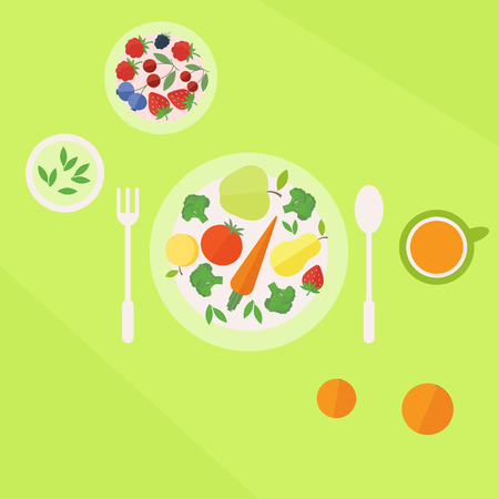 Illustration with colorful healthy vegetarian lunch. Plate with fruits and vegetables and glass of juice on a table. Flat style vector illustration Vector
