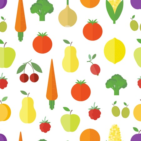 Seamless background with vegetables and fruit and berries in flat style. Vector illustration