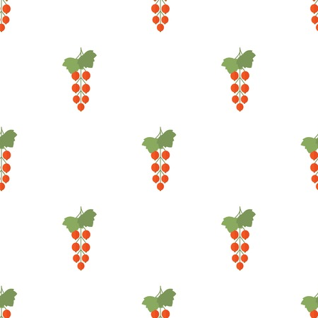 red currant: Seamless background with red currant on a white background. Vector illustration