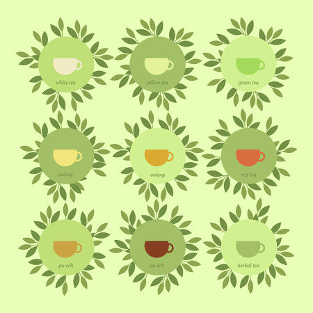 oolong: Vector illustration. Set of banners with cups of tea and leaves. Chinese tea and herbal Illustration