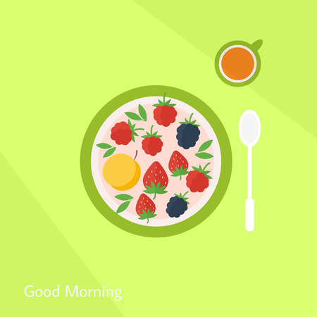 breakfast plate: Illustration with colorful healthy breakfast. Plate with fruits berries and glass of juice on a table. Flat style vector illustration