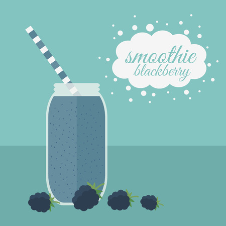 nonalcoholic: Jar with  smoothie and berries on a table. Vector illustration
