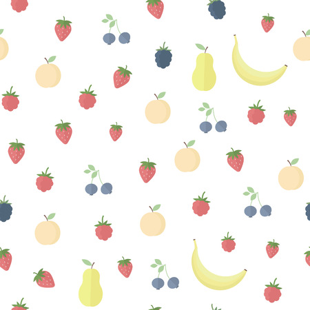 Seamless background with fruits and berries on a white background. Vector illustation Illustration