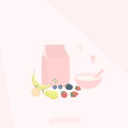Vector illustration with package of yogurt, cup and fruits and berries on a table. Concept healthy breakfast Illustration