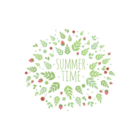 Frame with berries and leaves. Vector element for design. Summer time Illustration