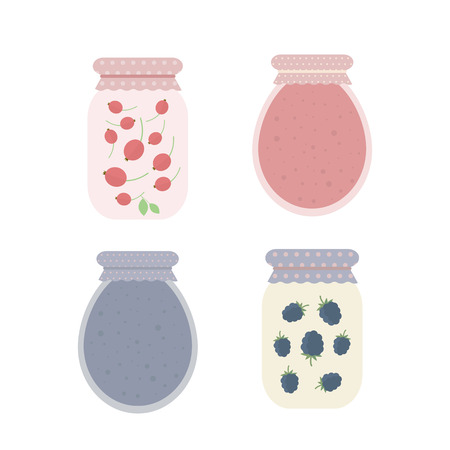 cranberry: Homemade cranberry and blackberry jam in jar. Set of vector isolated elements for design