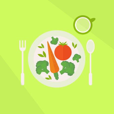 Illustration with colorful healthy vegetarian lunch. Plate with vegetables and glass of juice on a table. Flat style vector illustration