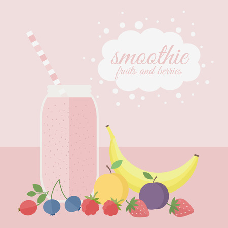 Jar with fruit smoothie with different fruits and berries on a table. Vector illustration
