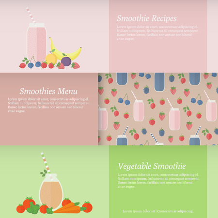 Set of horizontal banners with fruit and vegetable smoothies. Vector illustration for design of recipes, menu, web Vector