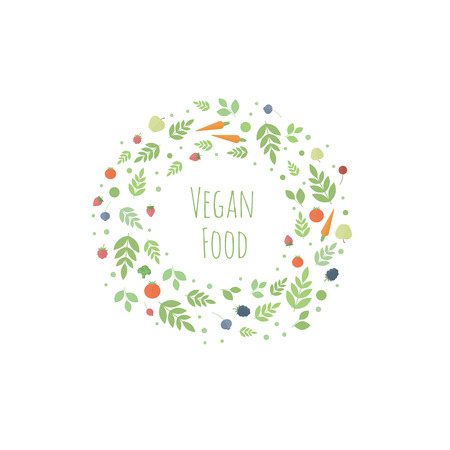 Frame with leaves, fruits, berries and vegetables. Vector template for design. Concept vegetarian food Vector