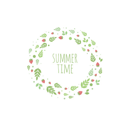 Frame with berries and strawberry. Vector banner for design. Summer time Vector