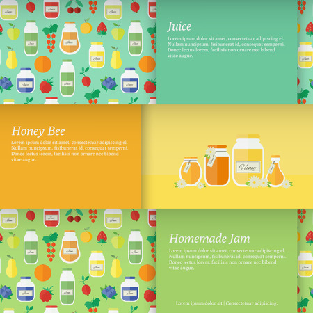 Set of horizontal banners with jars of jam and juice and honey. Flat design vector illustration Vector