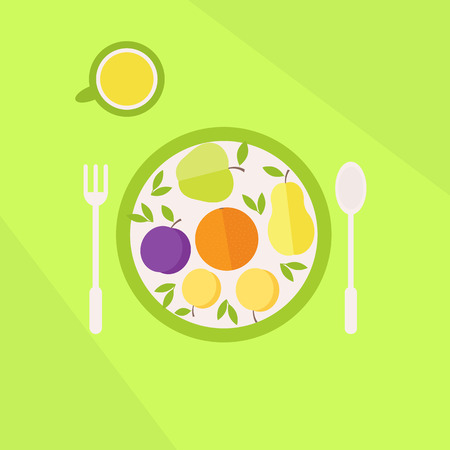 Illustration with colorful healthy vegetarian lunch. Plate with fruits and glass of juice on a table. Flat style vector illustration Vector