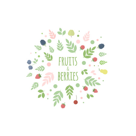 Floral round frame with leaves, fruits and berries for design. Vector illustration Vector