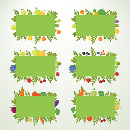 Fruit, vegetables and berries in frames, banners. Vector isolated elements for design in flat Vector