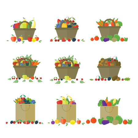 cesta de frutas: Canastas y paquetes con frutas y verduras. Frescos de granja. Conjunto de elementos vectoriales aislados