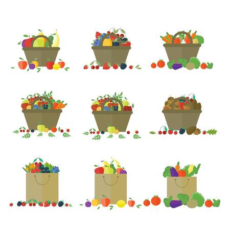 corbeille de fruits: Paniers et emballage de fruits et l�gumes. Farm Fresh. Ensemble d'�l�ments de vecteurs isol�s