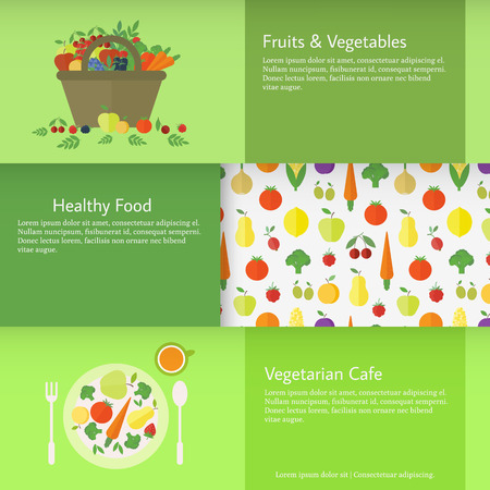 Set of horizontal business cards with a basket and a plate with fruits vegetables and berries. Flat vector illustration. Vegetarian food concept Vector