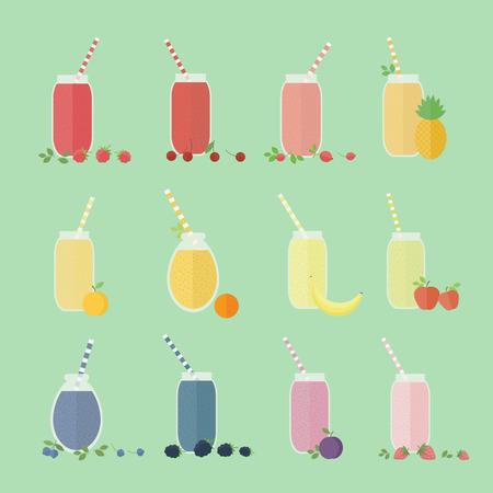 Set of fruits and berries juices, cocktails or smoothies in glass. Vector isolated elements for design Vector
